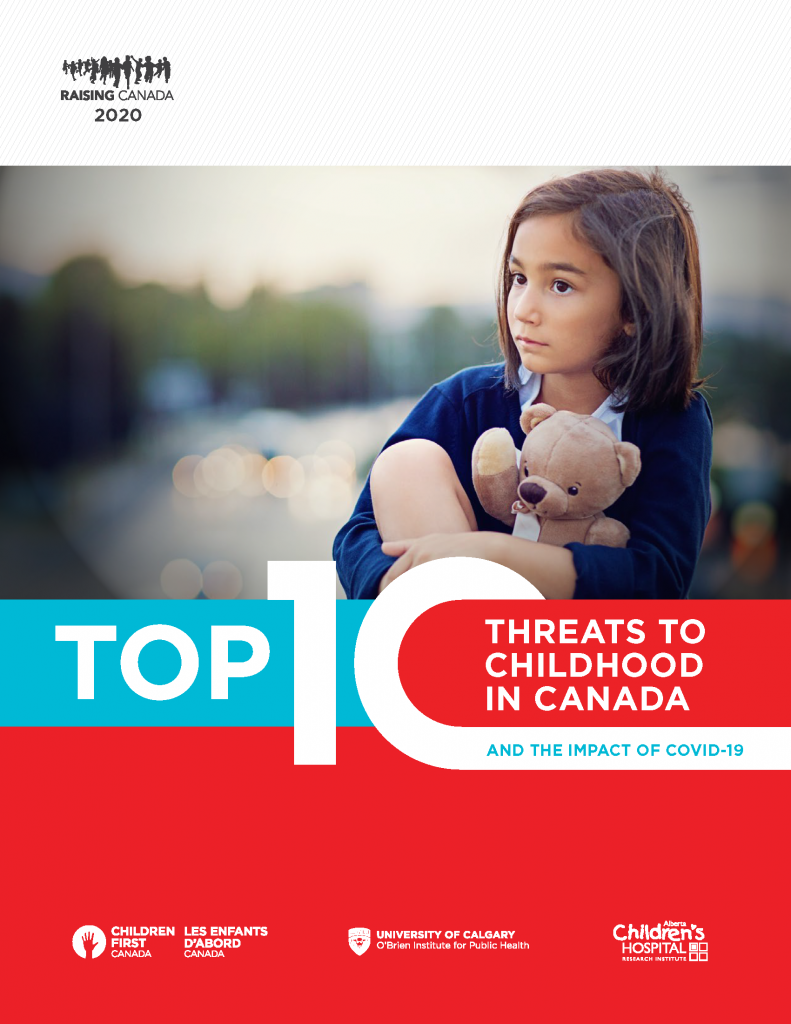 Cover of Raising Canada 2020. Links to a PDF on Children First Canada's website.