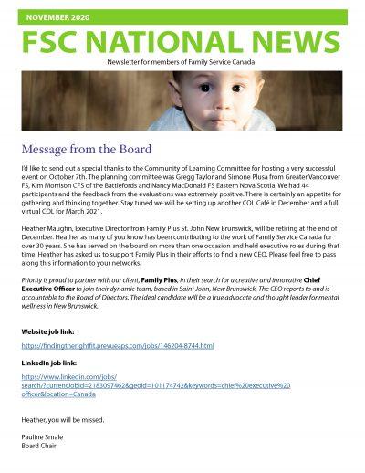Cover of the November 2020 FSC Newsletter