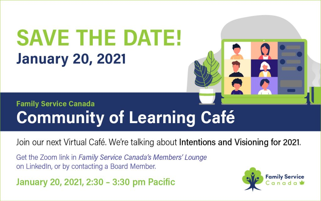 Postcard invitation to save the date for FSC's COL Cafe in January 2021.